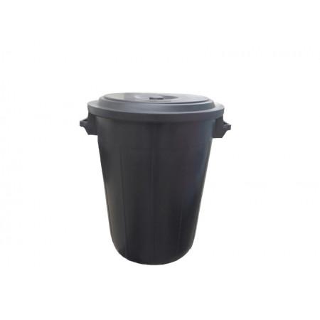 Κάδος Πλαστικός 80L - Με Καπάκι Μαύρος