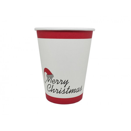 Paper Cup Merry Christmas White/Red 14oz - 50pcs