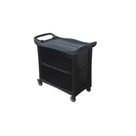 Τρόλεϊ Σερβιρίσματος Σε Χρώμα Μαύρο Με Φρένα Στις Ρόδες 112x53x94hcm