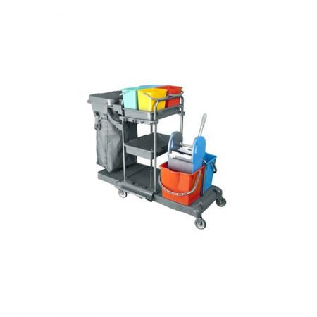 Τρόλεϊ Καθαρισμού Χρωμίου Με Δύο Κουβάδες 18Lit Και Τέσσερα 5Lit Κουβαδάκια Με Σακούλα Απορριμμάτων  Και Στίφτη